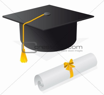 Cap and diploma for the student