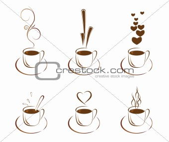 A set of cups with hot coffee