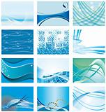 Collection of blue abstract backgrounds