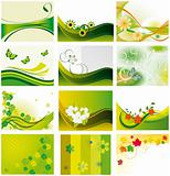Collection of backgrounds with flowers and butterflies