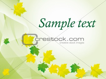 Green background with colored leaves