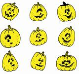 vector of pumpkins' faces set
