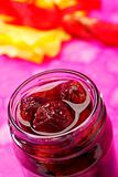 Sour cherry jam in jar