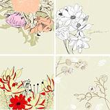 Set of floral background