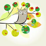 Template for greeting card with bird