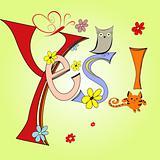 Cartoon illustration with inscription Yes
