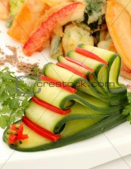 Sliced Cucumber And Capsicum
