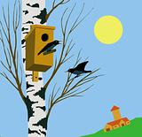 vector illustration starling on tree