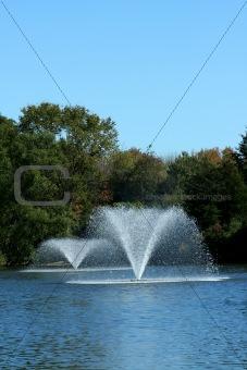 Fountain on a pond