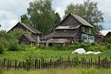 Old dilapidated rustic wooden houses