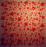 Red ceramic hearts background