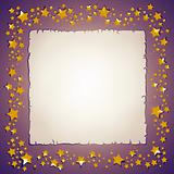 Golden stars and paper sheet frame