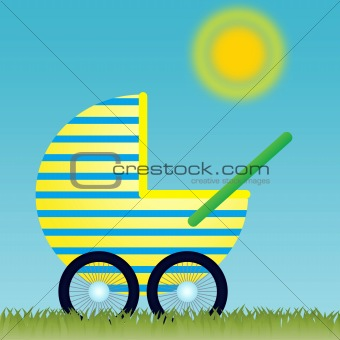 Baby Carriage on the meadow under the Sun