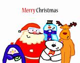 Christmas snowman, Santa Claus and animals