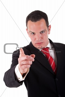 businessman pointing, isolated on a white background, studio shot