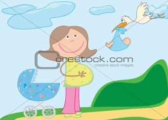 pram, pregnant,stork with baby