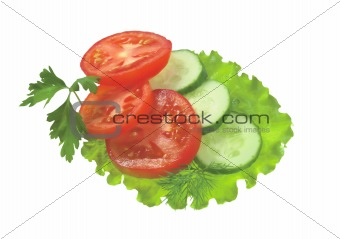 group of fresh ripe vegetables and herbs isolated on white