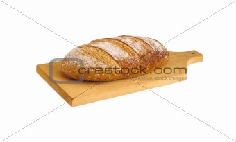 rye bread with sunflower seeds isolated on white