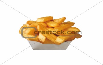 French fries in white box isolated on white background