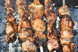 Tasty fry meat (pork barbecue)