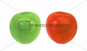 green and red apples with water drops isolated on white
