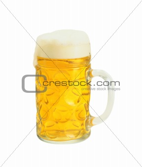 Fresh beer in a glass isolated on white background