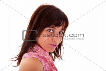 Beautiful Woman Smiling, isolated on white background. Studio shot.