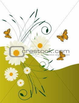 Abstract background with daisies and butterflies