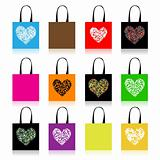 Shopping bags design, floral heart shape