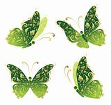 Green art butterfly flying, floral golden ornament