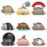 Piggy icons set