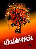 Halloween night party, concept tree for your design