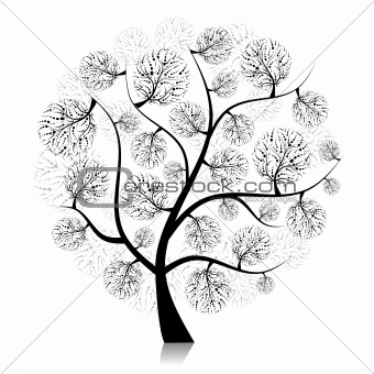 Art tree silhouette on white for your design