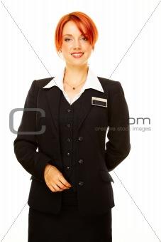 caucasian woman as hotel worker