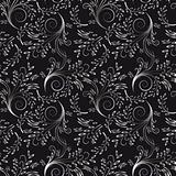 Seamless floral background of black and white