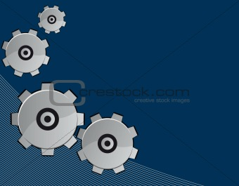 Blue abstract background with gears