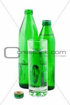 Water in bottles  isolated on white background.