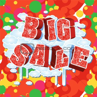 3d bright big sale text.