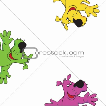 Green, yellow and violet dogs.Vector illustration