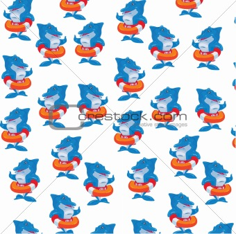 It is a lot of dolphins with life buoys.Vector illustration