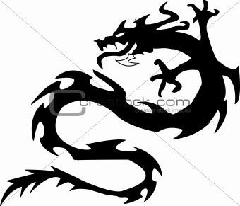 black silhouette of dragon.Vector illustration