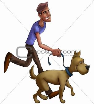 boy walking with dog