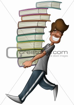 boy holding a lot of books