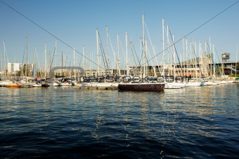 a lot of yachts standing in port  of Barcelona