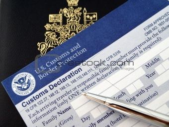 passport on U.S. customs and border form