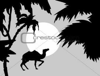 Title: Enter title  Description: vector tropical landscape with palm on foregrounds