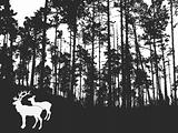 vector silhouette of the deers in thick wood