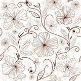 Seamless white-brown floral pattern