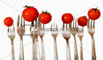 forks and cherry tomatoes