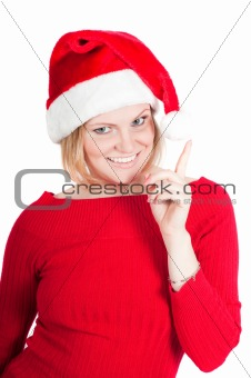 Portrait of beautiful woman santa